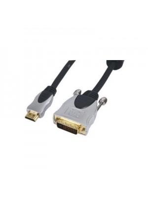 HQ HDMI naar DVI-D 15 m, Goud, Zwart, Mannelijk/Mannelijk